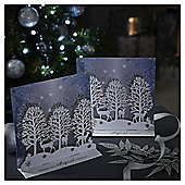 Luxury Snowy Glitter Trees Christmas Cards, 6 pack