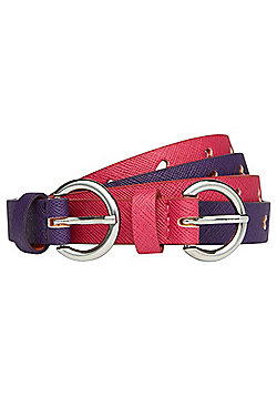 F&F 2 Pack of Heart Cut-Out Belts - Pink & Purple