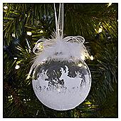 Weiste Silver Reindeer Pattern Christmas Bauble