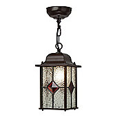 Kansa Lighting Victorian Porch Lantern Pend Red Jewel in Antique Bronze