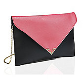 Pink and Black Colour Block Envelope Clutch Bag