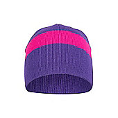 Kids' Unisex Chamoix Striped Pattern Children Warm Knitted Design Beanie Hat NEW - Purple