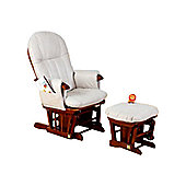 Tutti Bambini Deluxe Recliner Glider Chair with Stool in Walnut