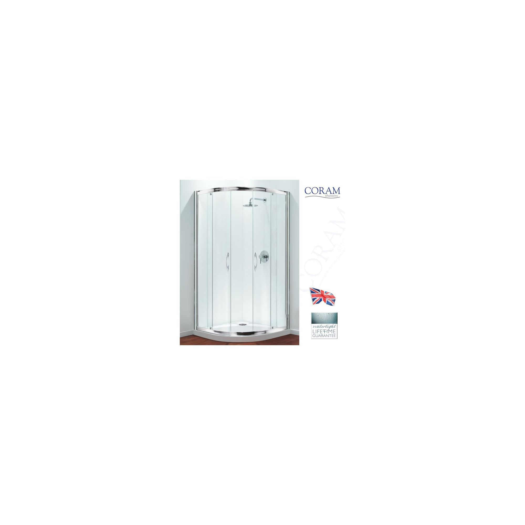 Coram Premier Quadrant Shower Enclosure, 800mm x 800mm, Low Profile Tray, 6mm Glass at Tesco Direct