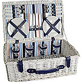 Nicola Spring 4 Person Picnic Hamper Set. Porcelain Plates, Cutlery & Glasses