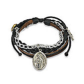 Urban Male Men's Multi Strand Leather Charm Design Bracelet