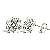 Jewelco London Rhodium Coated Sterling Silver wool knot Stud Earrings - Ladies