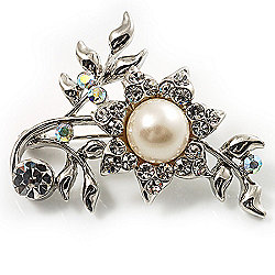 Faux Pearl Floral Brooch (Clear&Light Cream)