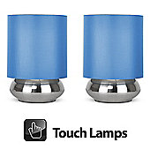 Pair of Touch Table Lamps in Brushed Chrome with Blue Shades