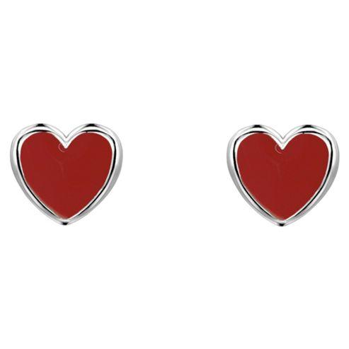 Ladybird Red Enamel Heart Studs