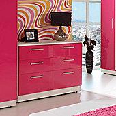 Welcome Furniture Knightsbridge 6 Drawer Chest - Black - Tangerine