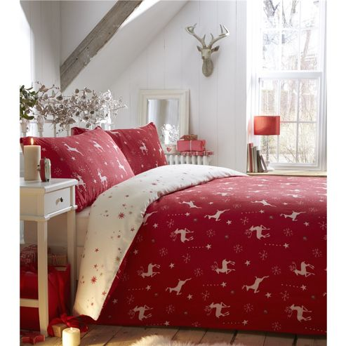 buy fusion christmas reindeer red duvet cover set double. Black Bedroom Furniture Sets. Home Design Ideas