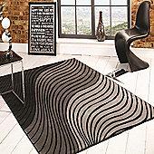 Sincerity Modern Ripple Grey/Black 120x170 cm Rug