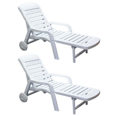 buy resol palamos folding sun lounger white plastic. Black Bedroom Furniture Sets. Home Design Ideas