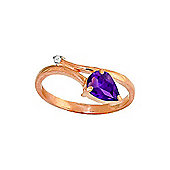 QP Jewellers Diamond & Amethyst Top & Tail Ring in 14K Rose Gold