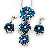 'Triple Flower' Teal Blue Enamel Diamante Necklace & Drop Earrings Set In Rhodium Plated Metal - 38cm Length (6cm extender)