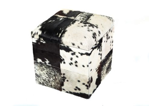 Jadeed Interiors Cowhide Cube Ottoman