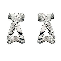 Womens Diamond Cut Kiss Silver Earrings
