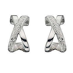 Womens Diamond Cut Kiss Silver Earrings