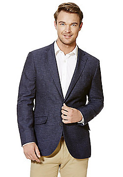 F&F Midnight Blue Tailored Fit Blazer with Linen - Midnight blue
