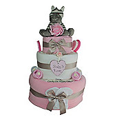 Luxury Baby Girl Gift Zebra Nappy Cake (Three tier)