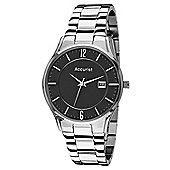 Accurist Gents Black Dial Silver Tone Bracelet Watch MB649B