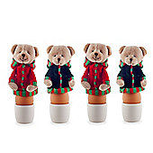 Set of Four Fabric Christmas Bear Egg Warmer Cosies