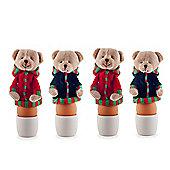 Set of Four Fabric Christmas Bear Egg Warmer Cosies
