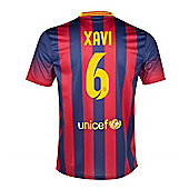 2013-14 Barcelona Home Shirt (Xavi 6) - Kids - Red
