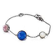 Shimla Ladies White/Pink Shell & Blue Agate Bracelet - SH-239