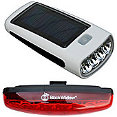 Black Widow Solar Flare Front and Nightflare Rear Bike Light Set. (Front is Solar Powered and USB Powered. Rear has 5 x Super Bright LEDs)