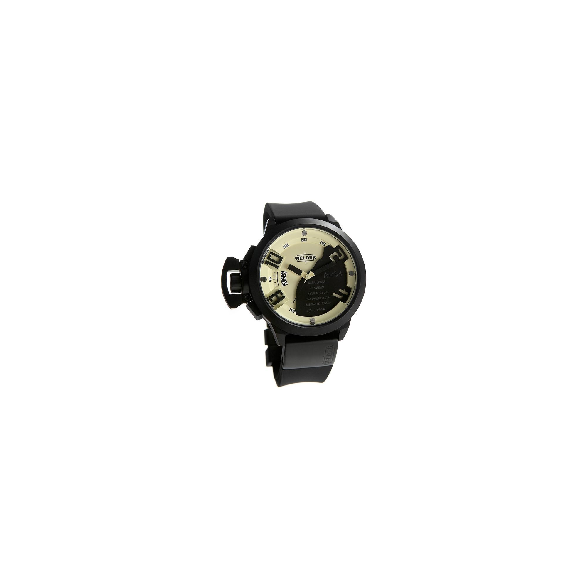 Welder Gents Cream Dial Black Rubber Strap Watch K24-3105 at Tesco Direct