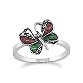 Gemondo 925 Sterling Silver Butterfly Marcasite Ring With Green & Violet Enamel