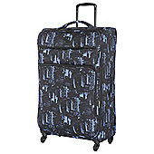 IT Luggage Megalite 4-Wheel Suitcase, Black/Blue Extra Large