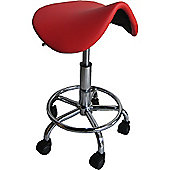 Saddle Red Faux Leather Stool