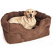 P & L Superior Pet Beds Machine Washable Rectangular Heavy Duty Faux Suede Softee Dog Bed - Brown - Medium (24cm H x 57cm W x 47cm D)
