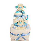Newborn Baby Boy Lamb Nappy Cake with keepsake capsule