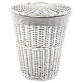 Tesco White Wicker Grey Striped Lined Laundry Bin