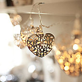 20 Silver Filigree Heart Indoor LED Fairy Lights