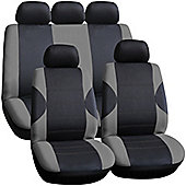 11 pce Grey Polyester Seat Cover Set Air Bag Comp 3 Zip Rear