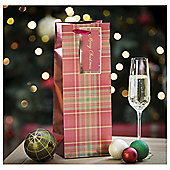 Tesco Bottle Bag & Gift Tag, Red & Tartan