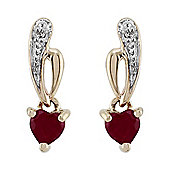Gemondo 9ct Yellow Gold 0.52ct Natural Ruby & Diamond Heart Drop Earrings