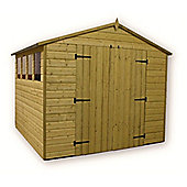 9ft x 8ft Premier Pressure Treated T&G Apex Shed + 4 Windows + Higher Eaves & Ridge Height + Double Doors