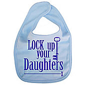 Dirty Fingers Lock up your Daughters Baby Bib Blue