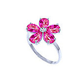 QP Jewellers Diamond & Pink Topaz Foliole Ring in 14K White Gold