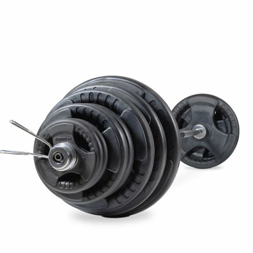 Bodymax 185kg Olympic Rubber Radial Barbell Kit with 7 ft bar and spring collars