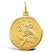 Jewelco London 9ct Solid Gold single sided medium weight St Christopher Medallion pendant