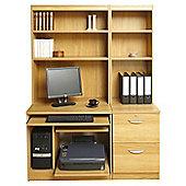 Enduro Home Office Desk / Workstation with Pedestal, Printer / CPU Storage and Inbuilt Bookshelves - Teak