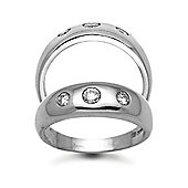 Jewelco London 9 Carat White Gold 33pts Gents 3 Stone Diamond Ring