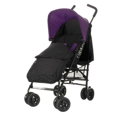 Obaby Atlas Black & Grey Stroller with Black Footmuff/Purple Hood